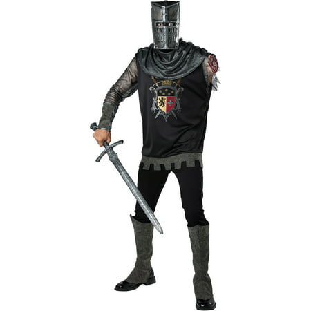 Mens Black Knight Zombie Medieval Costume - Zombie Costume For Men