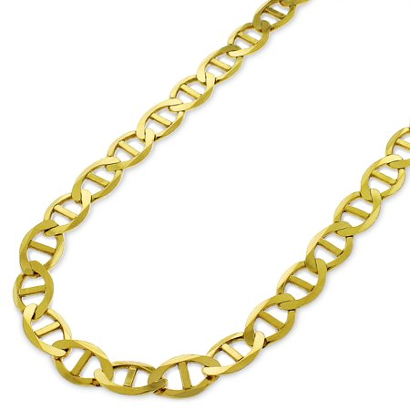 """14k Yellow Gold 6.5mm Solid Mariner Anchor Link Flat Necklace Chain 16"""" - 30"""""""