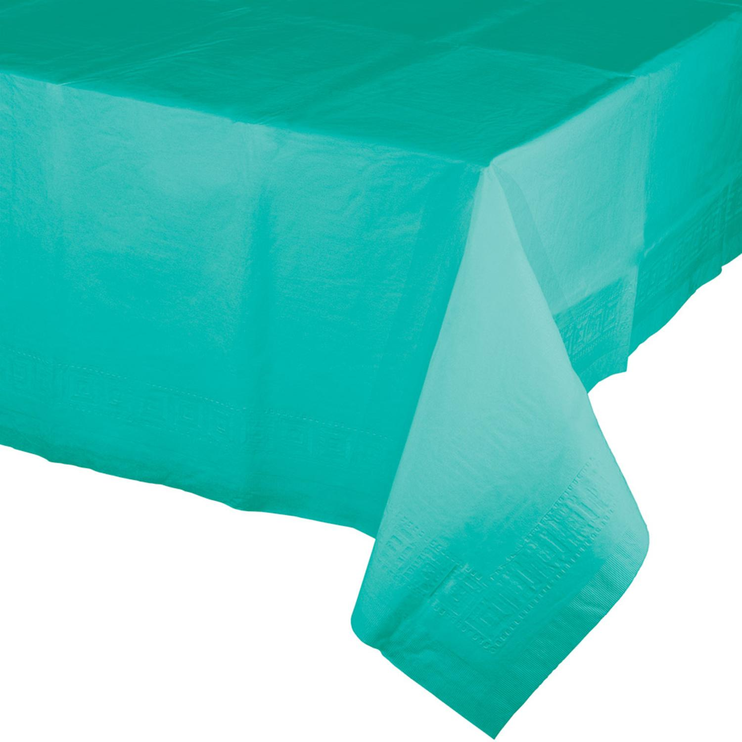 Club Pack of 12 Decorative Disposable Teal Lagoon Tablecloth 9'