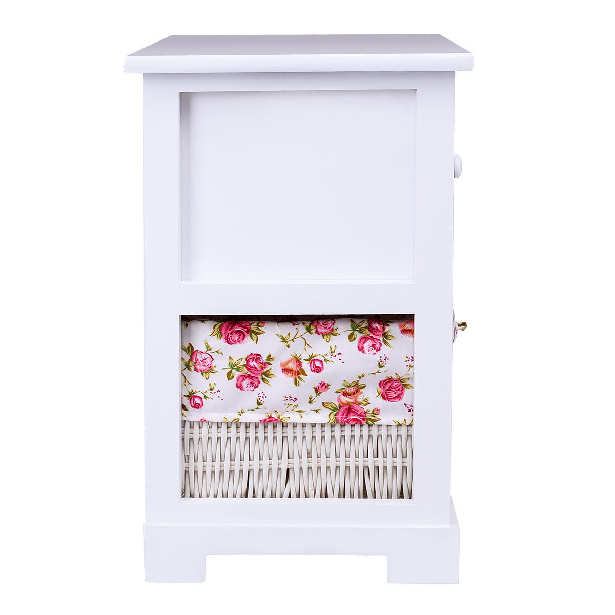 Gymax 2PCS 2 Tiers Wood Nightstand1 Drawer Bedside End Table Organizer W/Basket White - image 1 of 8