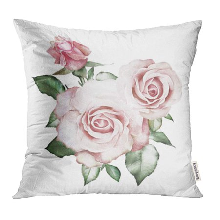 CMFUN Gray Watercolor Flowers Floral Pink Rose Branch of White Leaf and Buds Cute Pillowcase Cushion Cover 16x16 (Jz Rose)