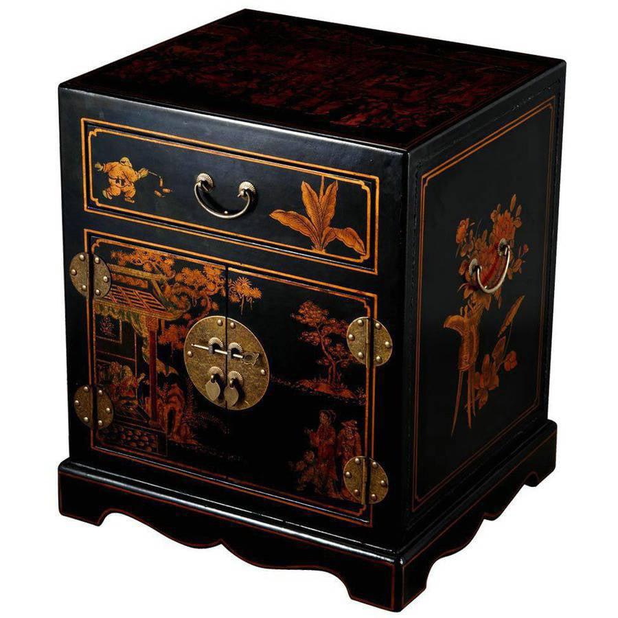 EXP Handmade Antique Style Mandarin Nightstand/End Table, Black