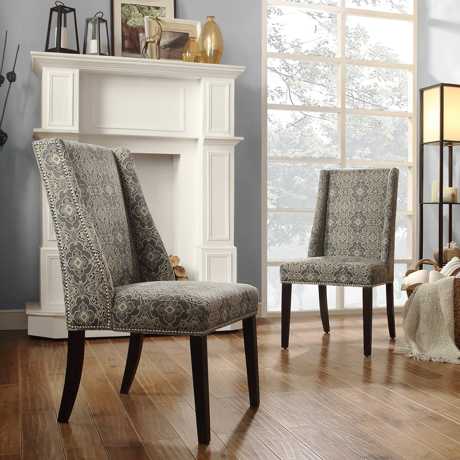 Chelsea Lane Blue Print Fabric Wingback With Nailhead Accent Chair   Set Of  2