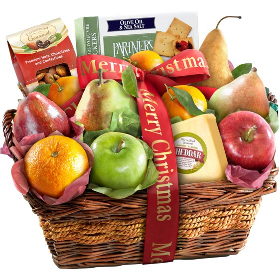 golden state fruit merry christmas fruit with cheese and nuts gift basket 13 pc walmartcom