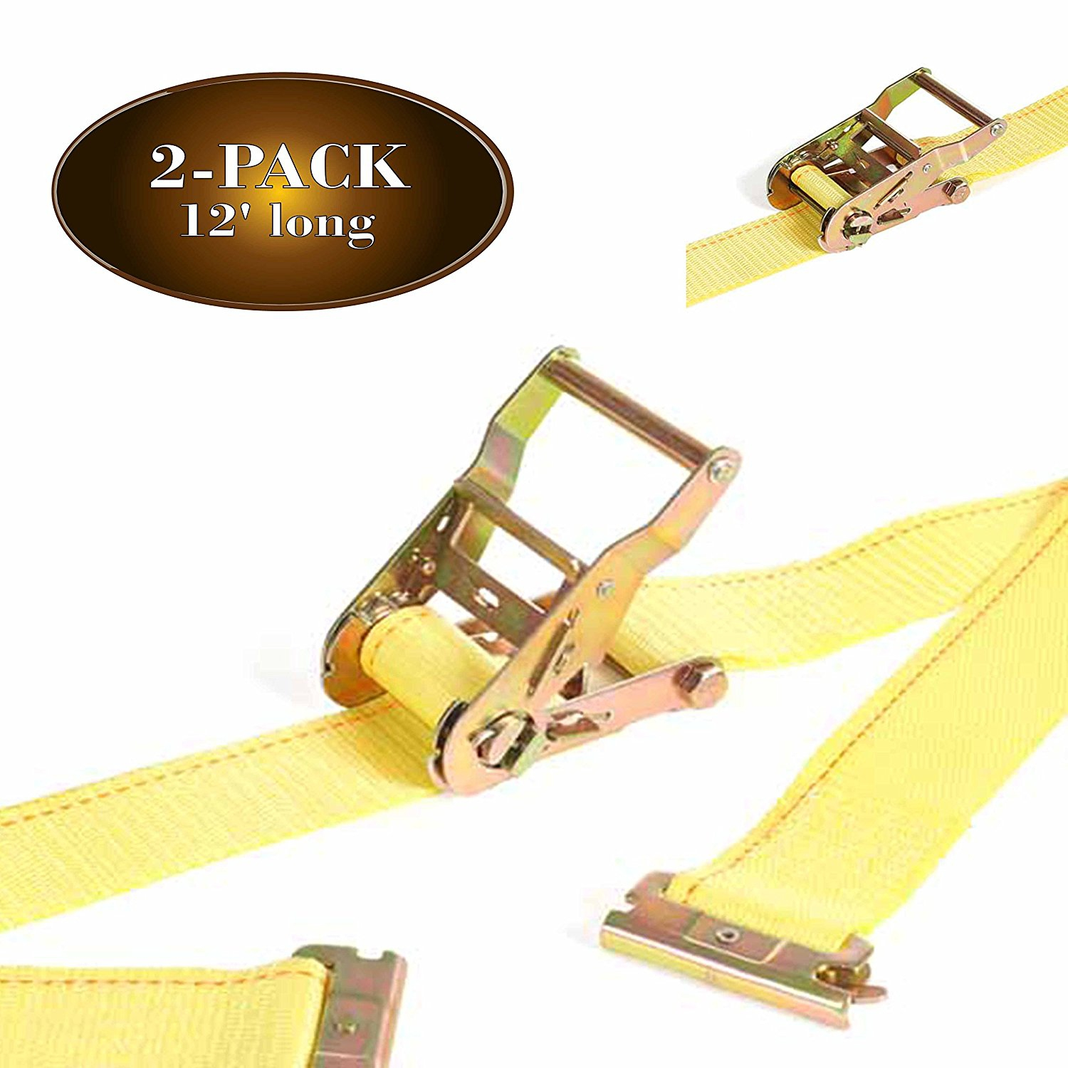 2Pk E Track Ratcheting Straps Cargo TieDowns, 2 x 12 Heavy Duty Yellow Polyester Tie-Down Straps,... by Dc Cargo Mall