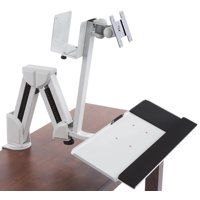 Displays2go Articulating Monitor & Tablet Work Station, Mounts on Counter or Wall, Steel & Aluminum Construction – White (DWSSW02WT)