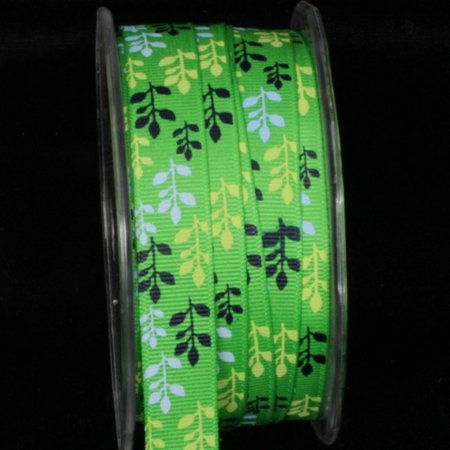 Green, Blue and Black Leaf Pattern Grosgrain Craft Ribbon 5/8