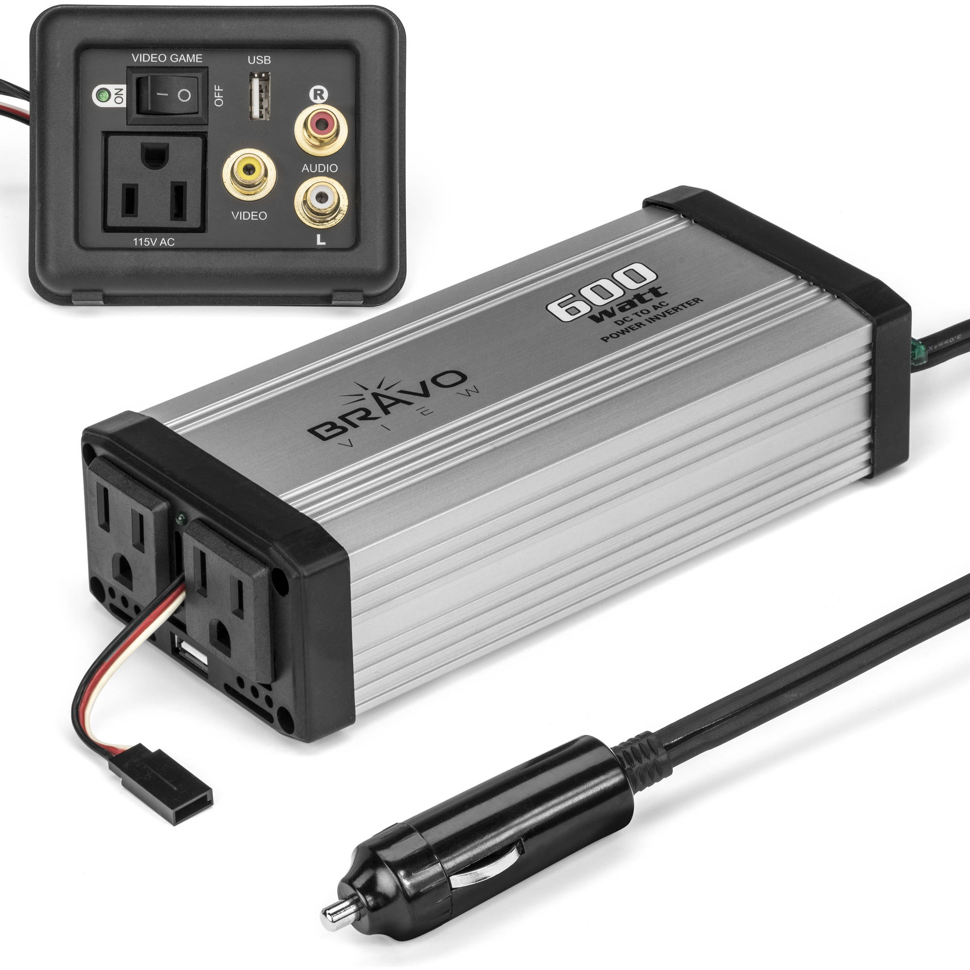 Bravo View INV-600UG 600-Watt Power Inverter with Dual USB Charging and