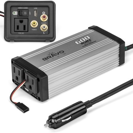 Bravo View Inv 600Ug 600 Watt Power Inverter With Dual Usb Charging And Audio Video Game Plate