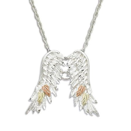 Landstroms Black Hills Silver Angel Wings Necklace, 12K Gold Leaves