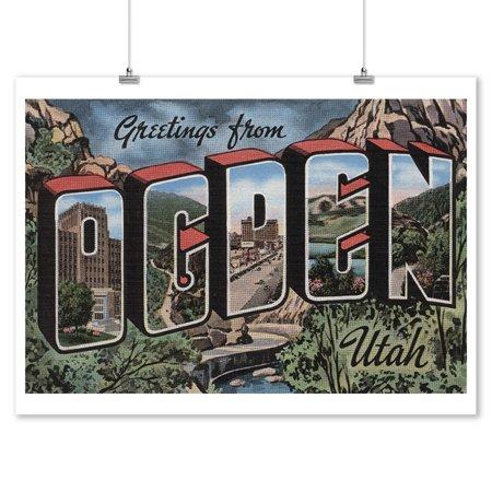 Greetings From Ogden Utah Mountain River Scene 9x12
