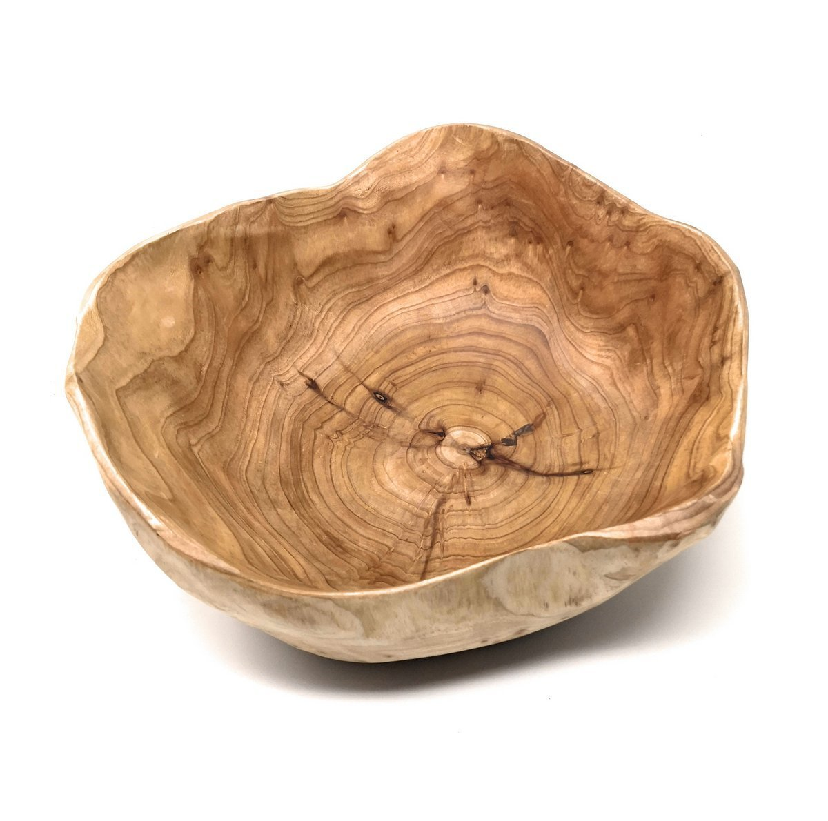 "THY COLLECTIBLES Wooden Bowl Handmade Storage Natural Root Wood Crafts Bowl Fruit Salad Serving Bowls (Large 12""-14"")"