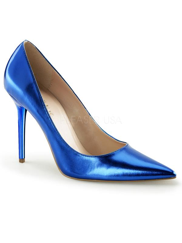 "Blue Metallic Pu Pleaser Single Soles 4"" Heel Size: 6"