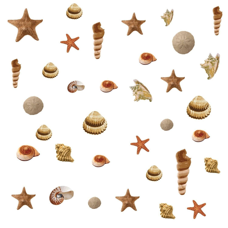 Tile Stickers Spa Wellness Sand Seashells Beach Starfish Bathroom WC Deco Sticker
