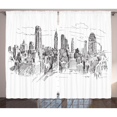 New York Curtains 2 Panels Set, Hand Drawn NYC Cityscape Tourism Travel Industrial Center Town Modern City Design, Window Drapes for Living Room Bedroom, 108W X 84L Inches, Grey White, by