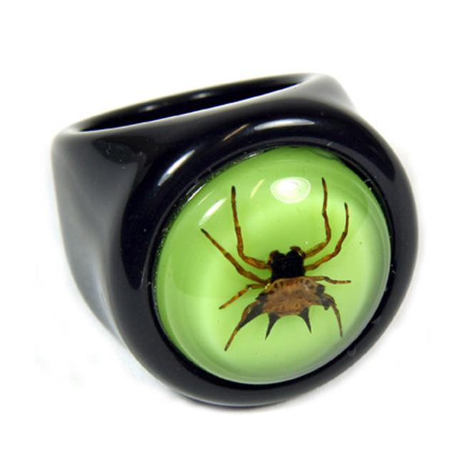 ED SPELDY EAST R0014-6 Ring  Spiny Spider  Black Ring with Green Back  Size 6
