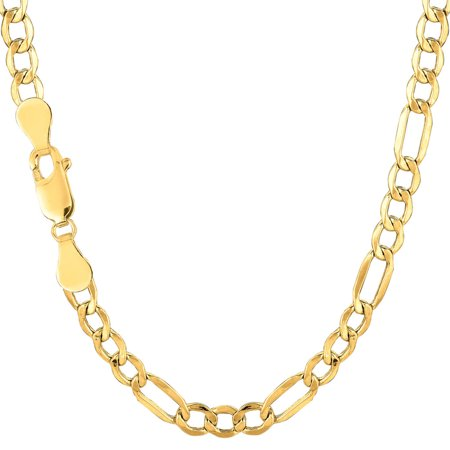 Men's 10K Yellow Gold 4.6mm Hollow Figaro Link Chain Necklace 18