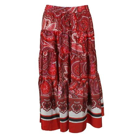 570f429c1 Ralph Lauren - Lauren Ralph Lauren Red Multi Printed Tiered Sateen Maxi  Skirt L - Walmart.com