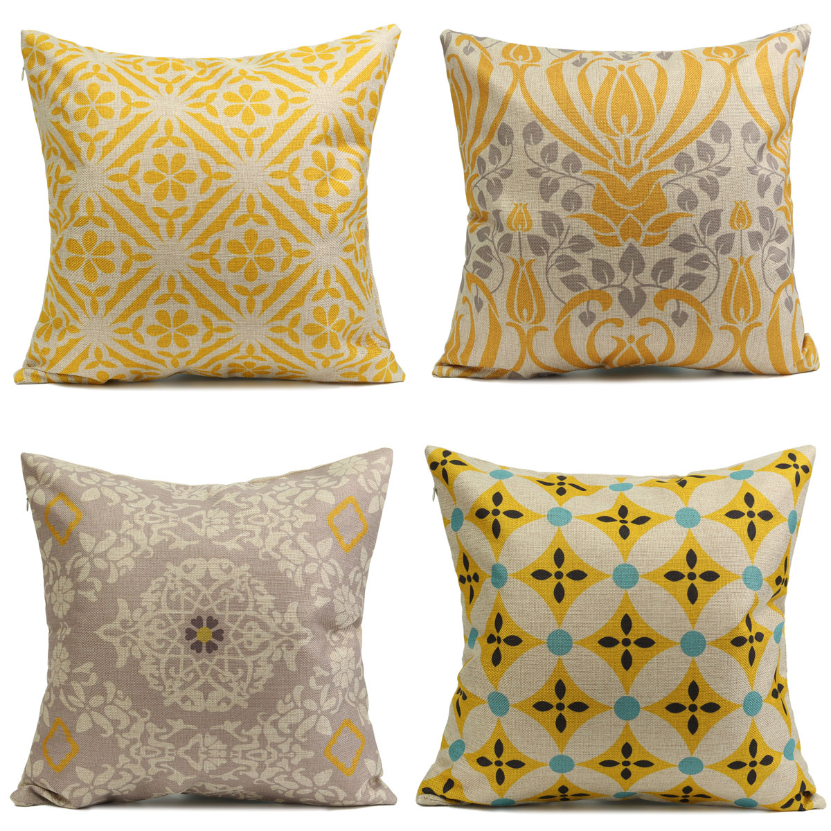 meigar retro yellow flower throw pillow cushion cover standard decorative