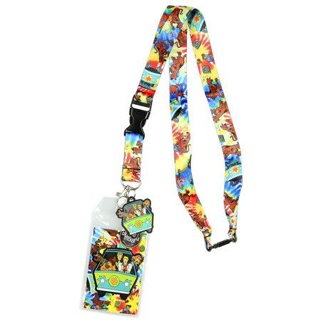 Scooby Doo Tie Dye Lanyard Keychain ID Holder Mystery Machine Rubber Charm and Sticker