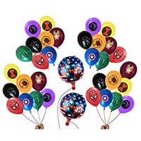 FAT CAT SALES 34 Superhero Party Balloon Bundle (32 Latex-8 different patterns & 2 Foil) Large 12' Latex/18' Foil, Avengers & Justice League Inspired