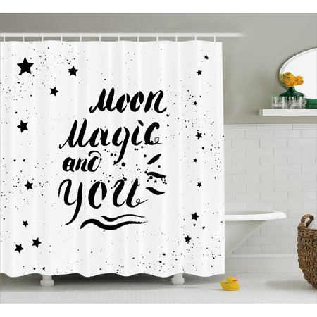 Romantic Shower Curtain Moon Magic And You Inspirational Messy Modern Brush Pen Calligraphy With Stars
