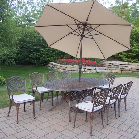 oakland living mississippi 9 piece dining set with cushions and