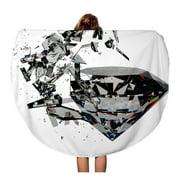 NUDECOR 60 inch Round Beach Towel Blanket Jewelry 3D Render Sparkling Diamond Broken Abstract Black Blink Travel Circle Circular Towels Mat Tapestry Beach Throw