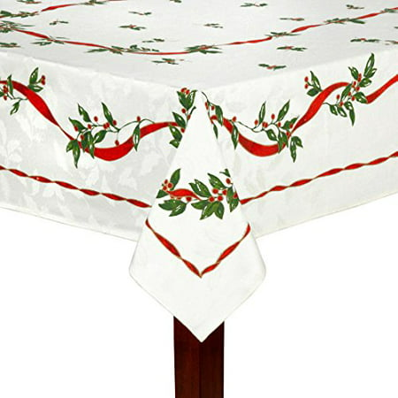 Holly and Ribbons Print Fabric Holiday Tablecloth 60 x 102 ...