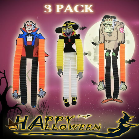 iClover Halloween Decorations Hanging Paper Decor Indoor Outdoor Wall Hanging Decorative Scary Props Gifts for Kids Girls Boys Party---Set of 3 - Halloween Paper Medallions