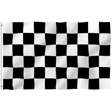 ANLEY [Fly Breeze] 3x5 Feet Checkered Flag - Vivid Color and UV Fade Resistant - Canvas Header and Brass Grommets - Racing Banner Flags (Checkered Flag Emoji)