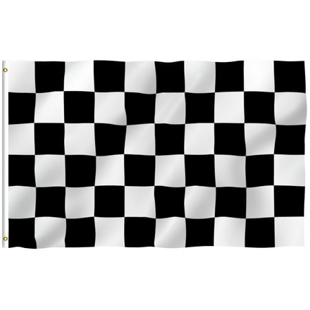 ANLEY [Fly Breeze] 3x5 Feet Checkered Flag - Vivid Color and UV Fade Resistant - Canvas Header and Brass Grommets - Racing Banner - Checkered Flag Ring