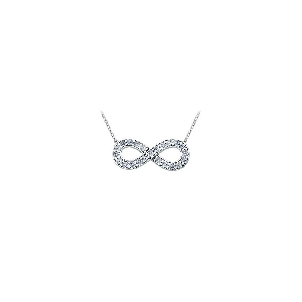 Designer Inspired Infinity Pendant with April Birthstone CZ in 14K White Gold 0.25 CT TGW - image 2 of 2