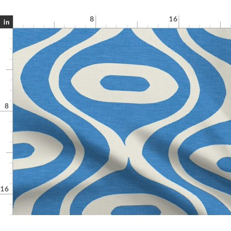 Raindrop Blue White Geometric Nursery Drop Fabric Printed by Spoonflower BTY