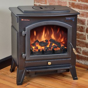 Comfort Smart Vermont Black Electric Fireplace Stove with...