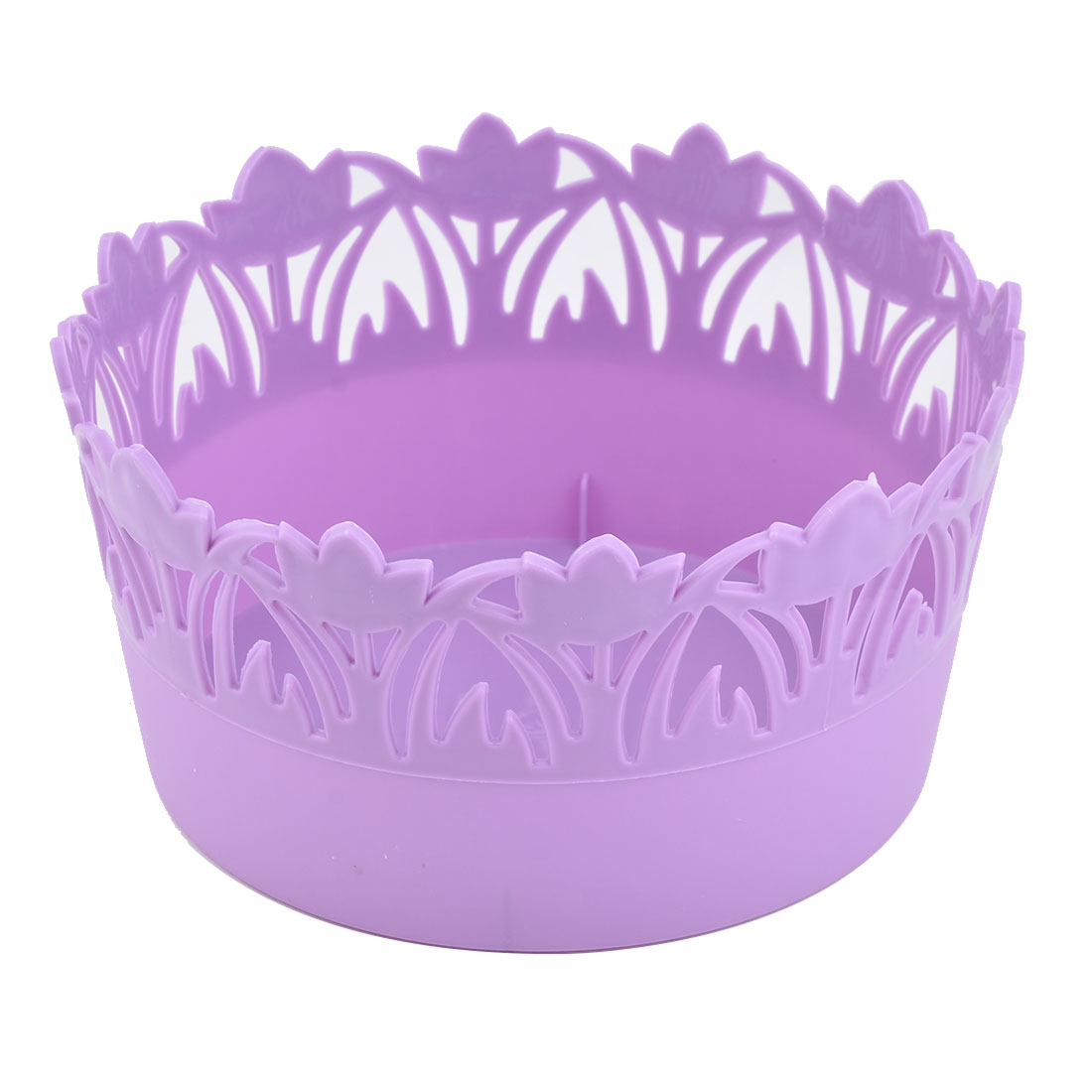 Home Plastic Flower Design Hollow Out Holder Storage Basket Box Container Purple