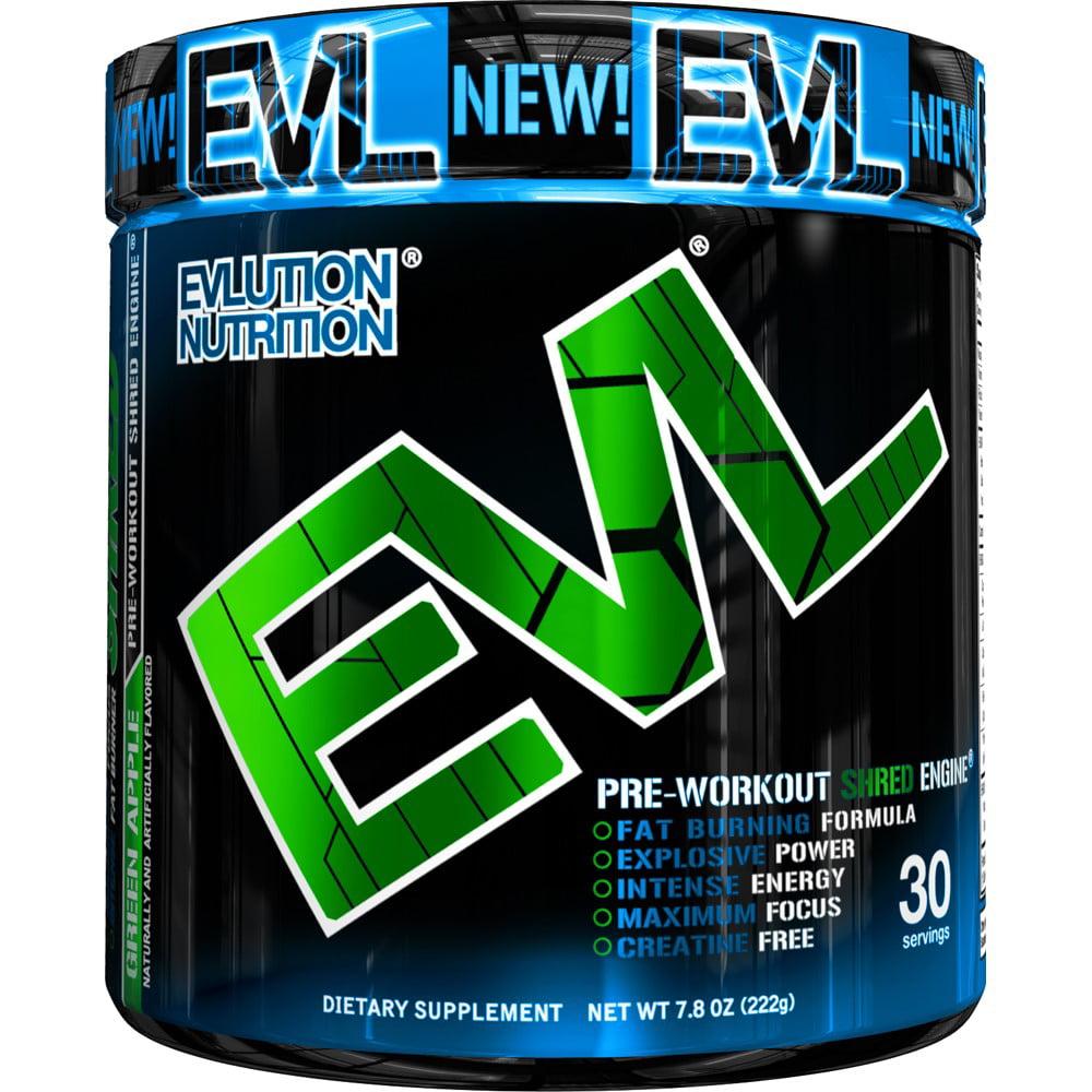 Evlution Nutrition ENGN Shred Pre Workout Powder, Green Apple, 30 Servings