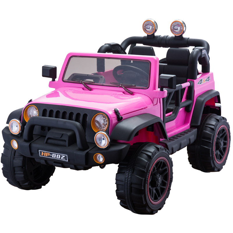 New 2 seater Off-road Truck 12v ride on car for 2 kids Power Wheels Remote Control Opening doors LED lights MP3 and more - Pink