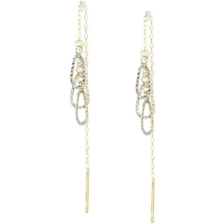 American Designs 14kt Yellow and White Gold Two-Tone Diamond-Cut Teardrop Pear Dangle and Drop Threader Earrings