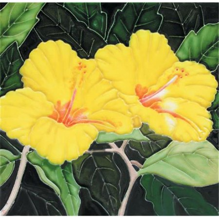 - En Vogue B-187 Yellow Hibiscuses - Decorative Ceramic Art Tile - 8 in. x 8 in.