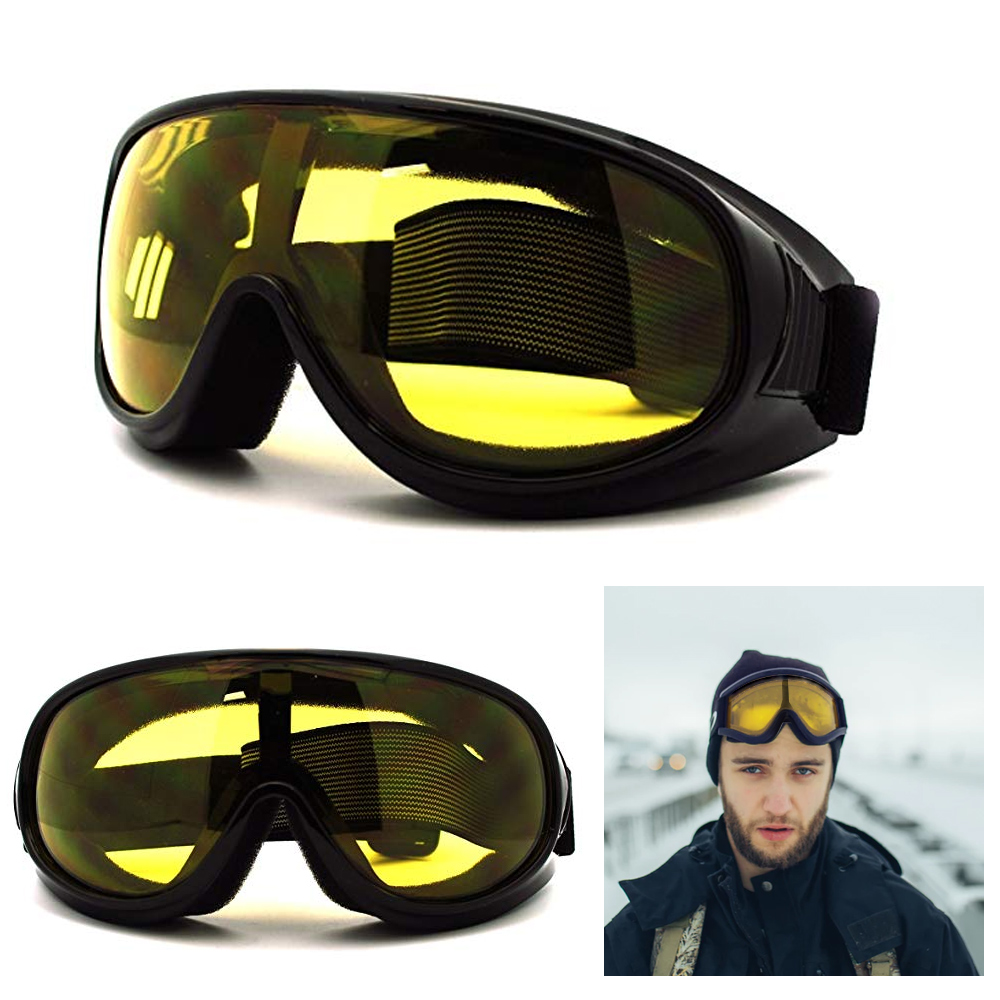 New Ski Snowboard Glasses Skiing Sun Goggle Sports Moto Racer Frame Yellow Lens by Asia Pacific
