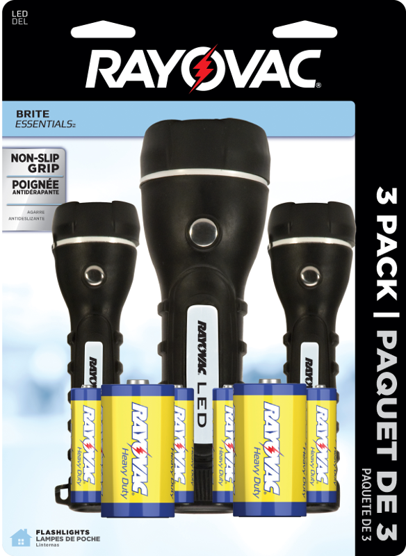 Rayovac LED 2D Rubber Flashlight, 3-Pack, BRSLED3PK-B by Spectrum Brands