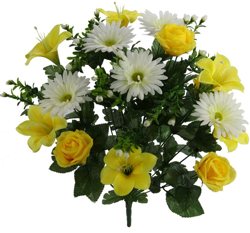 Artificial 24 Stem Lily, Rose, Gerbera Mixed Bush