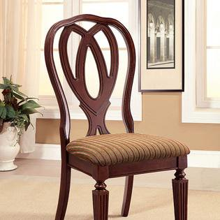 Harwinton Traditional Style Set of 2 Side Chair in Padded Fabric and Reeded Front Leg Design ()