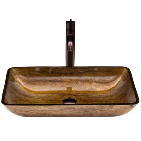 Rectangular Amber Ring - Vigo Rectangular Amber Sunset Glass Vessel Sink and Faucet Set, Oil Rubbed Bronze