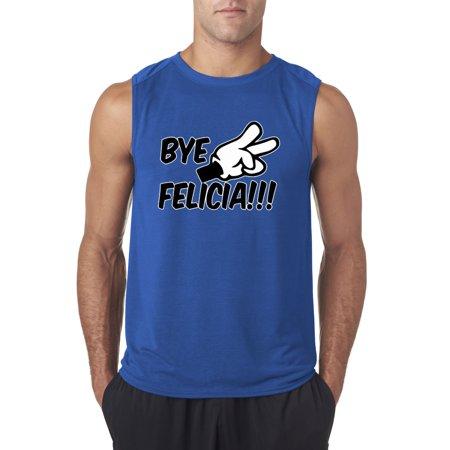 Trendy USA 432 - Men's Sleeveless Bye Felicia Cartoon Hands Peace Funny Humor Friday Movie Large Royal Blue (Felicia Hardy Black Cat)