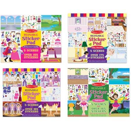 Melissa & Doug Reusable Sticker Pads Set: Fairies, Princess Castle, Play House, Dress-Up - 680+ Stickers for $<!---->