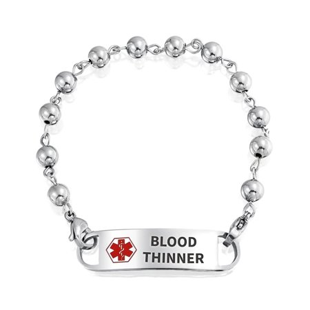 Customizable Engravable Identification Medical Alert ID Ball Bead Link Chain Bracelet For Women Stainless Steel 7.5 Inch