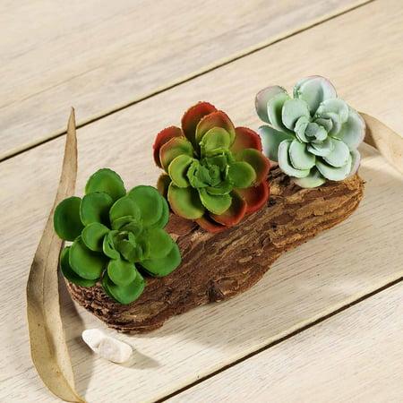 "Efavormart Set of 3 | 3"" Assorted Artificial Faux Succulents Picks Mini Green Plants"