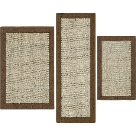 Mainstays Faux Sisal Olefin High Low Loop Tufted 3-Piece Accent Rug Set (Texture Sisal Rug)